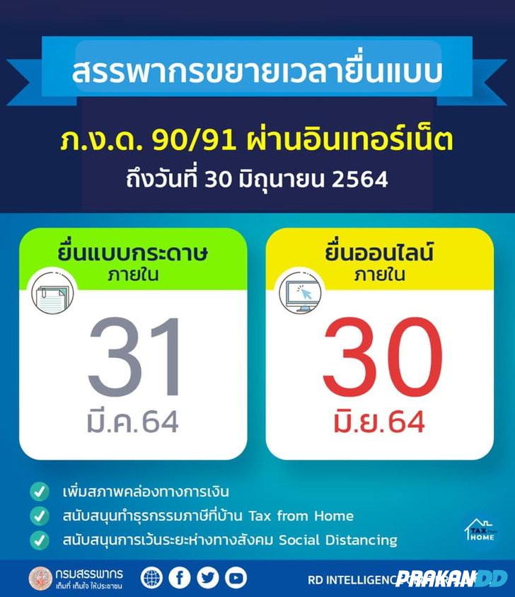 ยื่นภาษี 2564 หมดเขตเมื่อไหร่